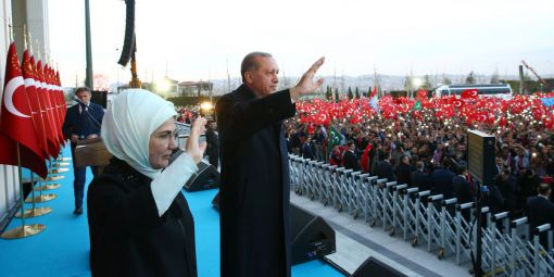 Turkish president Recep Tayyip Erdogan and his wife are celebrating the victory of Yes in the constitutional referendum